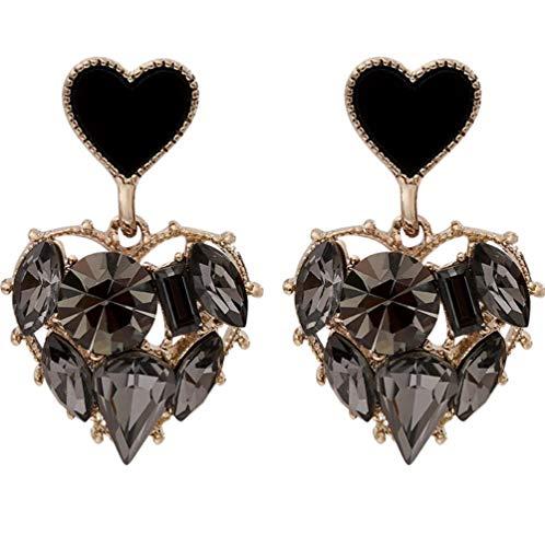 New Arrival Trendy Grey Crystal Love Heart Dangle Earrings For Women Sweet Fashion Jewelry Fashion