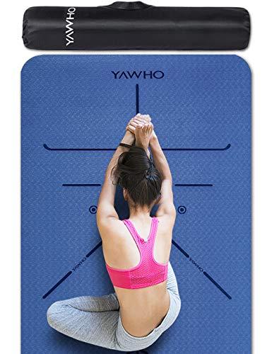 YAWHO Colchoneta de Yoga Esterilla Yoga Material medioambiental TPE,Modelo:183cmx66cm Espesor:6milímetros,Tapete de Deporte Grande y Antideslizante,Correas y Mochilas como Regalos (Blue)