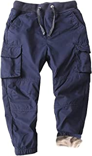 Abalacoco Big Boys' Winter Warm Pants Fleece Thick 100% Cotton Jogger Pull-On Cargo School Casual Pants 5-12T