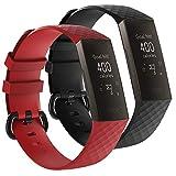 AFUNTA 2 bandas deportivas de silicona compatibles Charge 3 y Charge 3 edición especial, reemplazo de reloj inteligente correa suave pulsera transpirable, rojo y negro