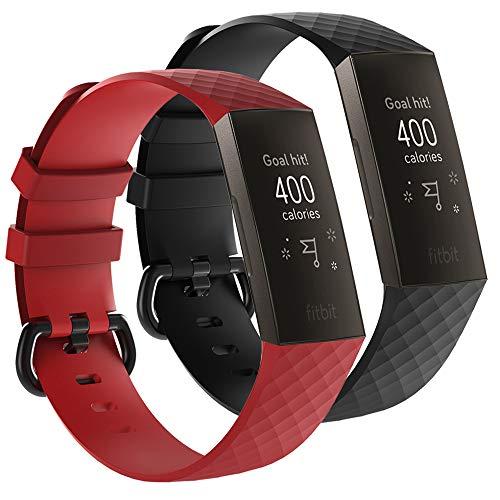 AFUNTA - 2 cinturini sportivi in silicone compatibili con Charge 3 e Charge 3 Special Edition, morbidi cinturini traspiranti, colore rosso e nero, per smart watch