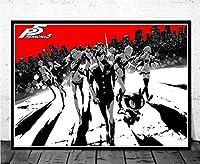 MKAN ポスタープリントギフトホットペルソナ5ビデオゲーム、アニメ漫画子供油絵壁アートキャンバス画像の装飾フレームレス40Cmx60Cm