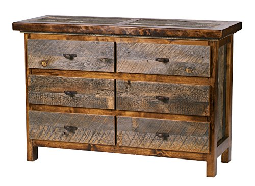 """Mountain Woods Furniture The Wyoming Collection 6 Drawer Dresser, Antler Pull, 52"""""""