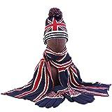 kyman Mujeres Hombres Invierno 3 Piezas Hatie Hat Bufanda Larga Guantes Set Reino Unido Británico Británico Estados Unidos Bandera Americana Rayas Impreso Cráneo Tap Cuello Mittens (Color : 1)