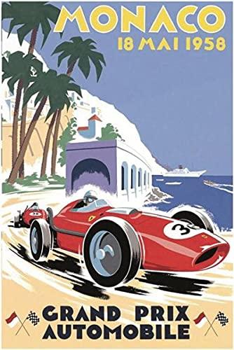 Aawerzhonda Stampe su Tela Art Monaco Racing Competition Retro Classic Grand Prix Motor Art Print Poster Home Wall Decor 60x90cm