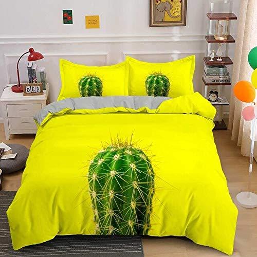 Juego De Funda Nórdica De Doble Capa Extra Grande De Cactus, Ropa De Cama De Microfibra con Funda De Almohada 50 * 75 Cm con Cierre De Cremallera, King 220x240cm H728