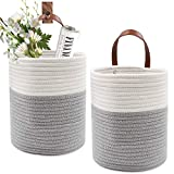 Qlf yuu 2 Pack Rope Hanging Basket,Cotton Rope Wall Basket,Small Basket with Leather Handle,Hanging Storage Basket,Woven Shelf Basket Storage Bin,Plant Basket Small Size 6.7'x 7.9'(White&Grey)