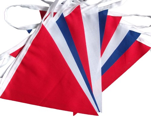 3 mtrs / 10 flags plain red white & blue fabric bunting/banner/garland