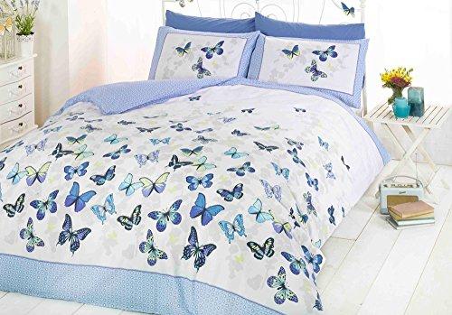 ART - Juego de Funda nórdica y almohadones en Rosa y Blanco con diseño de Mariposas para Cama Individual, Algodón y poliéster, Azul, Doublé