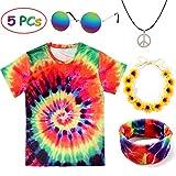 Tacobear Hippie Kostüme für Damen Herren Hippie Brille Hippie Kette Hippie T-Shirt Hippie...