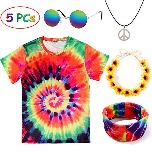 Tacobear Hippie Kostüme für Damen Herren Hippie Brille Hippie Kette Hippie T-Shirt Hippie Blumenhaarband Tie-Dye Stirnband Hippie Accessoires für Themenparty Fasching Karneval (XXXL)