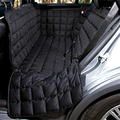 Doctor Bark Hunde 3-Sitz-Autoschondecke für die Rücksitzbank, All-Side Schutz mit Reißverschluss für alle PKWs und SUVs, S in Schwarz