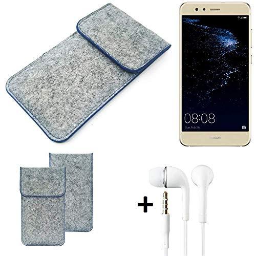 K-S-Trade Filz Schutz Hülle Für Huawei P10 Lite Dual-SIM Schutzhülle Filztasche Pouch Tasche Handyhülle Filzhülle Hellgrau, Blauer Rand + Kopfhörer