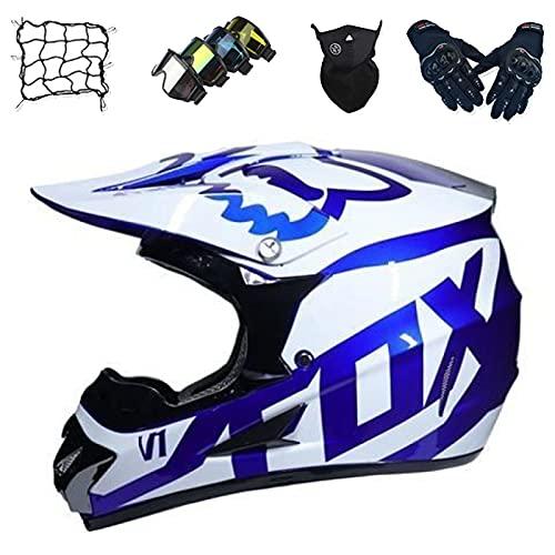 Aidasone Casco de Motocross, YEDIA-01 Casco de Moto para Niños con Diseño Fox Casco de Moto Todoterreno Unisex para Descenso MTB Casco Integral con Gafas/Máscara/Guantes/Bungy Net,M