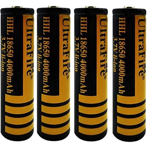 18650 Batería de Litio Recargable 3.7V 4000mAh Baterías de botón de Gran Capacidad para Linterna LED, iluminación de Emergencia, Dispositivos electrónicos, etc. 2/4 Piezas (Amarillo + Negro) (4 pcs)