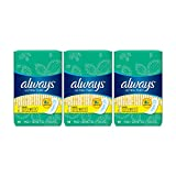 ALWAYS Ultra Thin Size 1 Regular Pads Without Wings Unscented, 44 Count, pack of 3