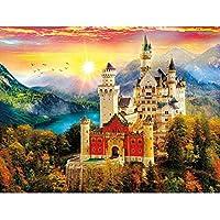 ラウンドダイヤモンド絵画パターンヒルトップ城ダイヤモンド刺繍ヨーロッパスタイルの建物ラウンドクロスステッチモザイクビーズキット 30x40cm