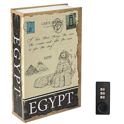 Parrency Buchsafe mit Zahlenschloss, versteckter Safe Lock Box, groß, Medium, 22 x 15 x 3.8 cm - Medium, Egypt, SBH-MM-M009