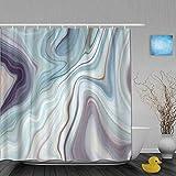 N\A Dekoration Duschvorhang Granit Marmor Abstrakte Blaue Tinte Flüssige Badvorhänge Wasserdichter Stoff Badezimmer Dekor Set Mit Haken
