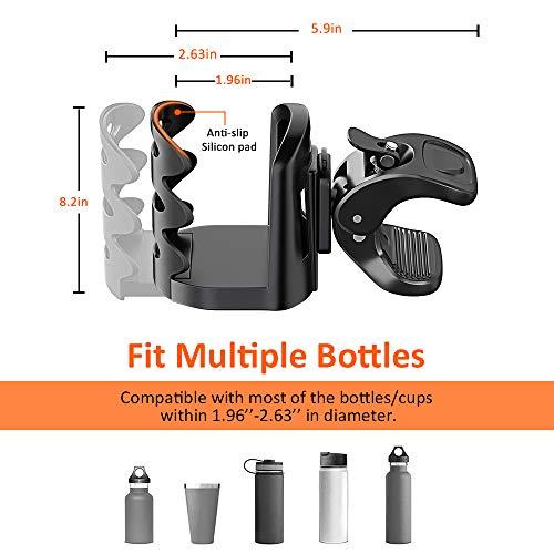 Cocoda Getränkehalter Becherhalter Fahrrad, 360° Drehbar Universal Flaschenhalter Kinderwagen Anti-Slip Einstellbarer Becherhalter für Trinkflaschen Nuckelflaschen Kaffeehalter (Schwarz) - 2