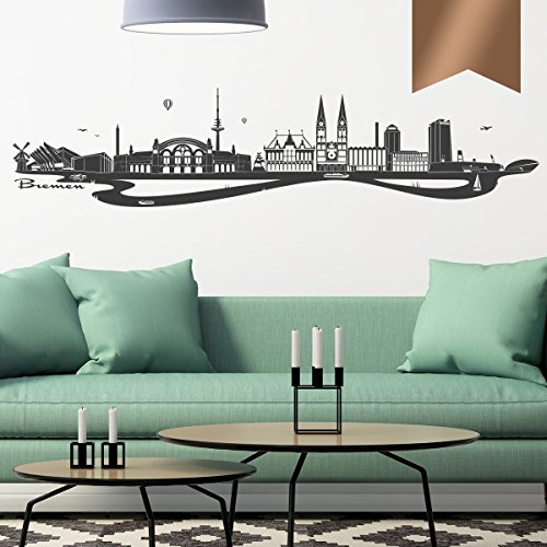 WANDKINGS Wandtattoo - Skyline Bremen (mit Fluss) - 130 x 29 cm - Kupfer - Wähle aus 6 Größen & 35 Farben
