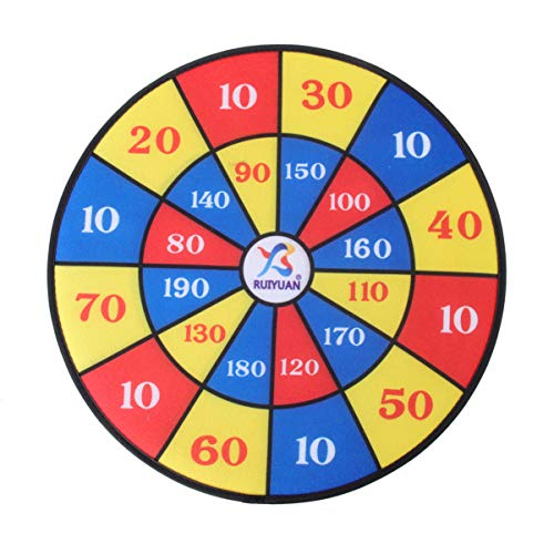 Wakauto Kids Dart Board Set, 14 inches Dart Board with Hook 10 Sticky Balls and 10 Darts Safe Dart Game Dart Board for Kids Birthday Gift Party Game