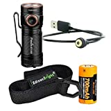 Fenix E18R 750 Lumen CREE LED USB rechargeable EDC/keychain Flashlight EdisonBright brand holster bundle