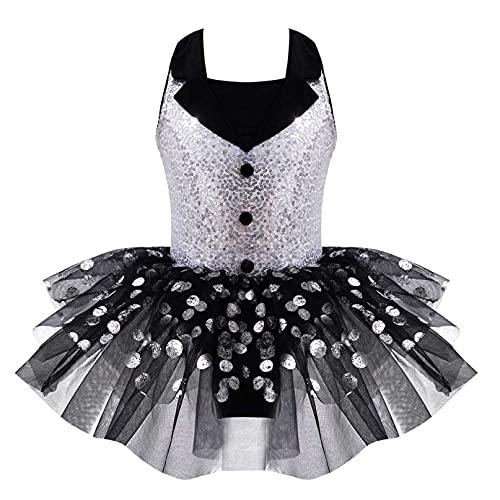iiniim Maillot de Ballet Nia Tut Vestido con Braga Interior Traje de Baile Leotardo con Falda Malla Gimnasia Disfraz Bailarina Fiesta Navidad Carnaval para Nias 4 a 12 Aos Negro A 6 aos