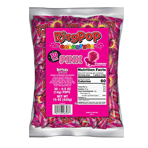 Ring Pop Individually Wrapped Pink Party Pack – Flavored Pink Candy Lollipop, Strawberry, 30 Count