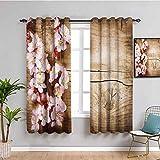 Cortina floral para niños, diseño de flores de primavera, planta sobre tablero de madera, imagen insonorizada, color marrón y rosa claro de 63 x 45 pulgadas