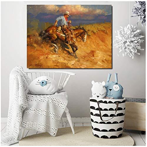DNJKSA Western Cowboy Thomas Kunstplakat Ölgemälde Wandbild Druck Home Schlafzimmer Dekor-60x80cm No Frame