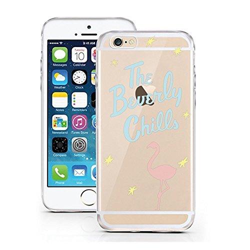 Funda Fanty compatible con Huawei P8 Lite 2017 Flamingo Beverly Chills, funda protectora transparente alrededor de protección dibujos animados M4