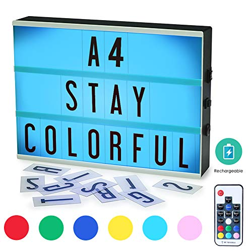 Cinema Light Box, ROTEK A4 Size 7 Colors Remote-Controlled LED Rechargeble Light Box with 189 Letters,Built-in Battery DIY Light Box for Wedding, Halloween, Chrismas,Dorm Room Decorations