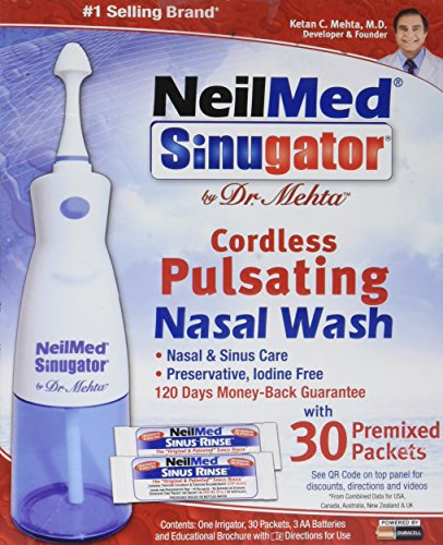 NeilMed Sinugator Cordless Pulsating Nasal Wash with 30 Premixed...