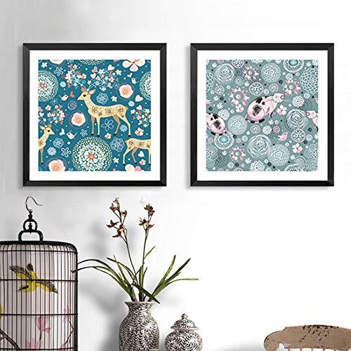 SDFSD Süße Karikatur Süße Tiere Blumenmuster Leinwand Malerei Wandkunst Leinwanddrucke Küchenplakat Bilder für Wohnzimmer Dekoration 30 * 30cm
