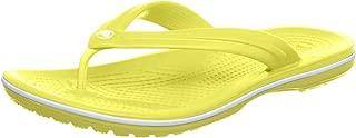 (UK M11 US M12, Tennis Ball Green/White) - Crocs Crocband Flip Unisex Adult Flip Flop