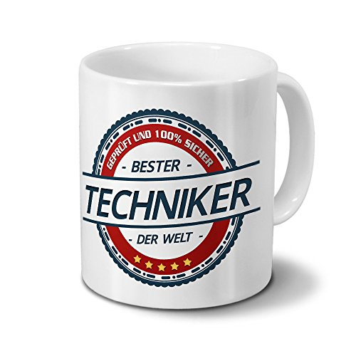 printplanet Tasse mit Beruf Techniker - Motiv Berufe - Kaffeebecher, Mug, Becher, Kaffeetasse - Farbe Weiß