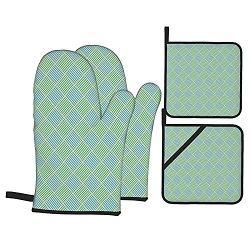 Estampado de Azulejos Cuadrados de Rayas geométricas,Juegos de Manoplas para Horno y Porta Ollas,4Pcs Impermeable Guantes Almohadillas para Cocina Cocinar Hornear Barbacoa