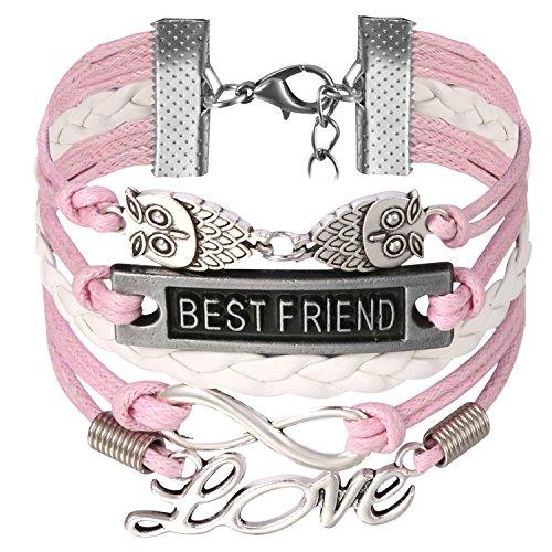 JewelryWe Schmuck Freundschaft Armband, Vintage Best Friend Love Eule Infinity Unendlichkeit Zeichen Leder Legierung Seil Charm Armreif Wickelarmband, Pink Weiß Silber