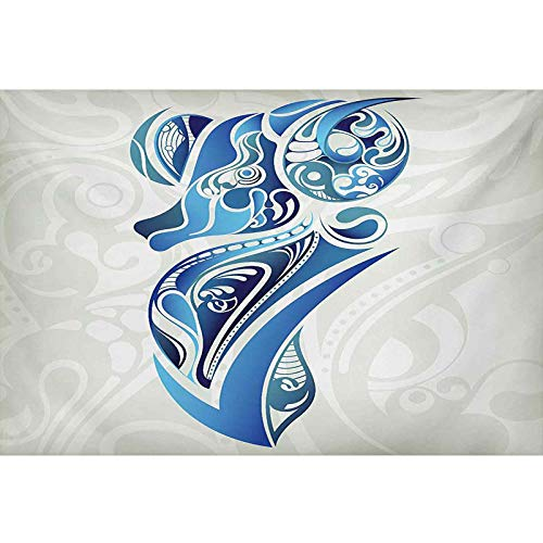 bybyhome Underwater Backdrop Image Decor Zodiac Aries,Artistic Animal Figure with Floral Swirls in Blue Shades,Pale Sage Green Blue Indigo PVC Adhesive Decor Pape L24 X H24 Inch