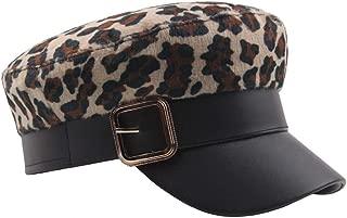 2019 Womens Hats Caps Women Men Beret Cap Flat Hat Autumn Winter Ladies Cotton Mens Leopard Navy Hat Wild Fashion Cap (Color : Khaki, Size : 56-58CM)