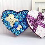 SUPERLOVE Seifenblume Geschenkbox Mit 20 Stück Rosen Kleine Bär Puppe Für Kreative Dekoration...