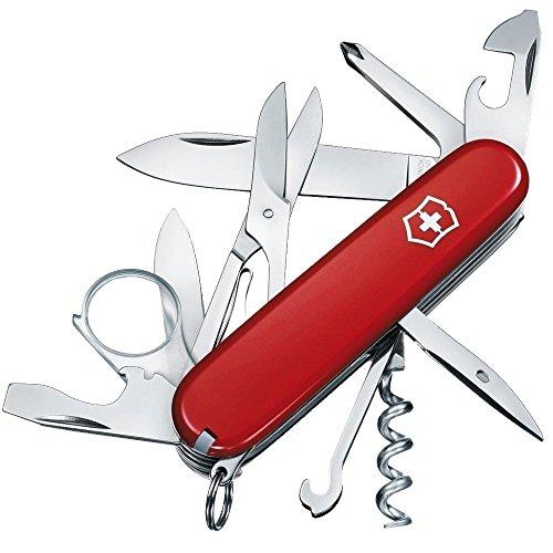 Victorinox Explorer Couteau de Poche Suisse, Léger, Multitool, 16 Fonctions, Lame, Tire Bouchon, Loupe, Rouge