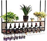 Estante para vinos Soporte para copas de vino, Arte europeo en hierro Soporte para copas de vino para colgar en altura ajustable Madera maciza con lámpara Estante para copas para bares Restaurantes Co