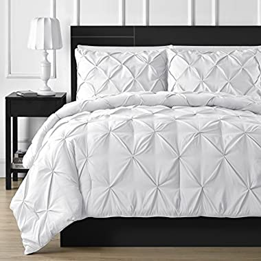 Double Needle Durable Stitching Comfy Bedding 3-piece Pinch Pleat Comforter Set All Season Pintuck Style (Queen, White)