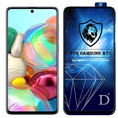 Roxel D-Plus Tempered Glass/Screen Protector Compatible for Samsung Galaxy A71 (Black) Dplus Edge to Edge Full Screen Coverage with Installation Kit (Pack of 1)