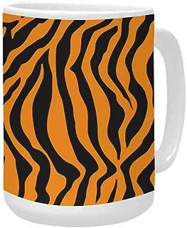 InterestPrint Tiger Orange Stripe Ceramic Coffee Travel Mug 15 Oz, Mug Funny for Coffee, Tea, Cocoa, Milk and Juice