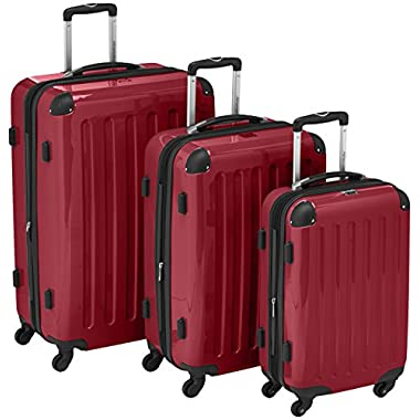 "HAUPTSTADTKOFFER Luggages Sets Glossy Suitcase Sets Hardside Spinner Trolley Expandable (20"", 24"" & 28"") TSA Red"