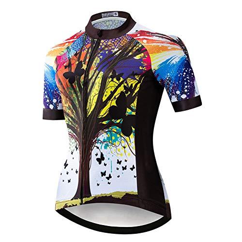 Damen Quick-Dry MTB Radtrikot,Damen Atmungsaktive Anti-Schweiß-Kurzarm-Fahrradhemd Mountainbike-Trikots