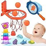 Joyjoz Badespielzeug Baby Badewannenspielzeug Wasserspielzeug 25 Stück Basketballkorb Kinder...